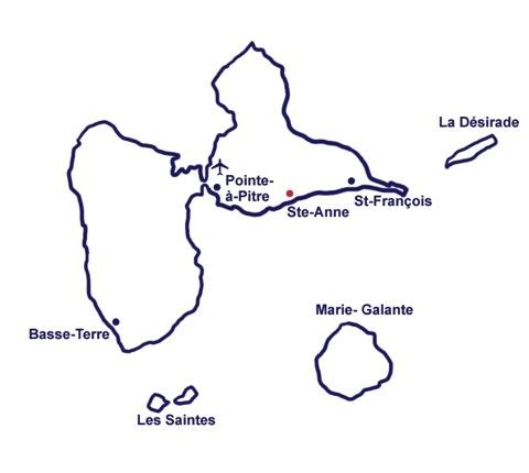 Carte Guadeloupe Noir Et Blanc.Acces